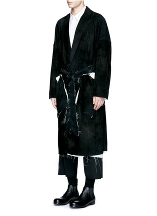 Front View - Click To Enlarge - Sulvam - Raw edge lining belted suede coat