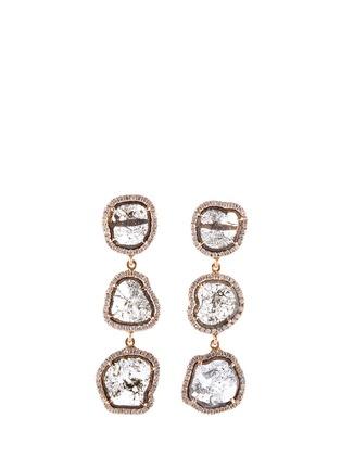 Main View - Click To Enlarge - MONIQUE PÉAN - Diamond slice 18k gold drop earrings