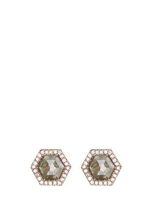 Main View - Click To Enlarge - Monique Péan - Diamond slice hexagon 18k gold earrings