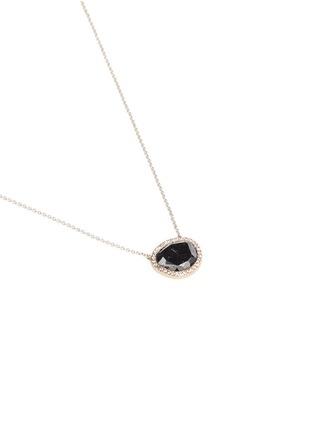 Figure View - Click To Enlarge - MONIQUE PÉAN - Black diamond pendant 18k recycled white gold necklace