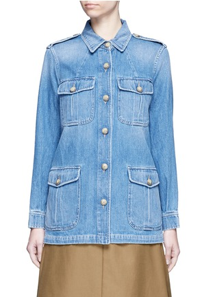 Main View - Click To Enlarge - Closed - 'Blade' denim military long jacket