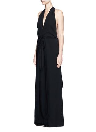 Front View - Click To Enlarge - Valentino - Drawstring waist halterneck jumpsuit