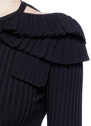 Detail View - Click To Enlarge - Emilio Pucci - Ruffle cutout shoulder rib knit top