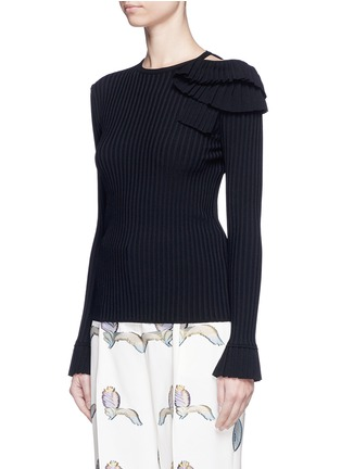 Front View - Click To Enlarge - Emilio Pucci - Ruffle cutout shoulder rib knit top