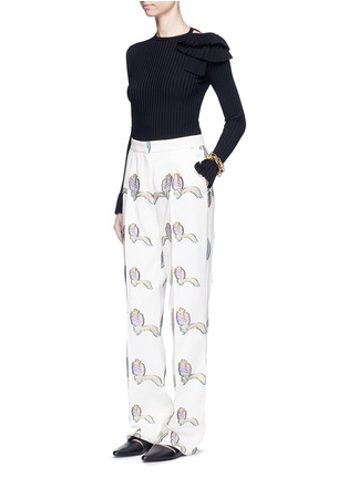 Figure View - Click To Enlarge - Emilio Pucci - Ruffle cutout shoulder rib knit top