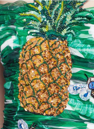 Detail View - Click To Enlarge - Dolce & Gabbana - Pineapple embellished banana leaf print strapless dress