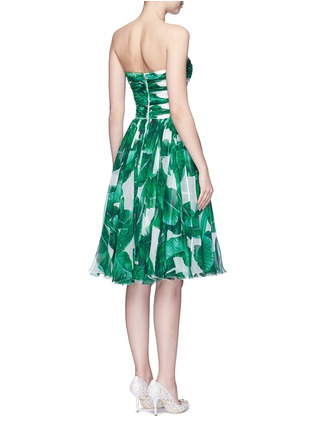 Back View - Click To Enlarge - - - Pineapple embellished banana leaf print strapless dress