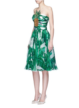 Figure View - Click To Enlarge - Dolce & Gabbana - Pineapple embellished banana leaf print strapless dress