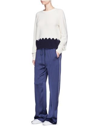 Figure View - Click To Enlarge - Chloé - Piped trim silk satin pyjama pants