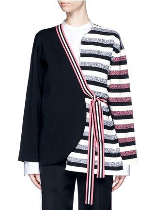 Main View - Click To Enlarge - Ports 1961 - Stripe knit sash tie kimono wrap jacket