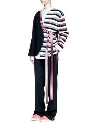 Figure View - Click To Enlarge - Ports 1961 - Stripe knit sash tie kimono wrap jacket