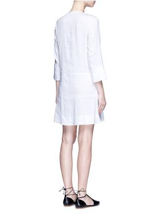 Back View - Click To Enlarge - Vince - Drop waist pleat front linen blend dress