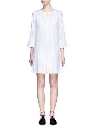 Main View - Click To Enlarge - Vince - Drop waist pleat front linen blend dress