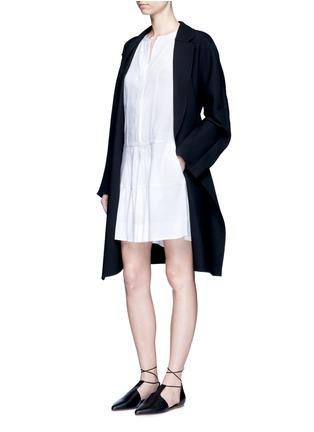 Figure View - Click To Enlarge - Vince - Drop waist pleat front linen blend dress