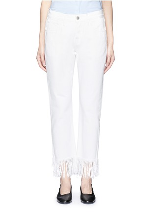 Detail View - Click To Enlarge - 3x1 - 'WM3' fringe cuff cropped jeans