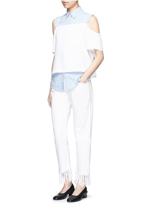Figure View - Click To Enlarge - 3x1 - 'WM3' fringe cuff cropped jeans
