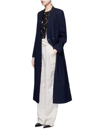 Figure View - Click To Enlarge - Lanvin - Felt collar wool blend coat