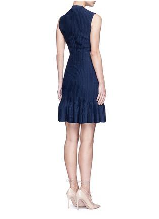 Back View - Click To Enlarge - Alaïa - 'Segovie' peplum hem stripe jacquard knit dress