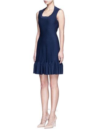 Figure View - Click To Enlarge - Alaïa - 'Segovie' peplum hem stripe jacquard knit dress