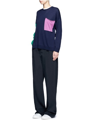 Figure View - Click To Enlarge - Ports 1961 - Colourblock pocket wool sweater