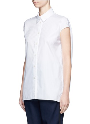 Front View - Click To Enlarge - Balenciaga - Pinstripe poplin sleeveless shirt