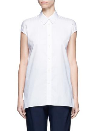 Main View - Click To Enlarge - Balenciaga - Pinstripe poplin sleeveless shirt