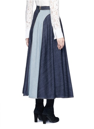 Back View - Click To Enlarge - LANVIN - Wavy fade panel denim skirt