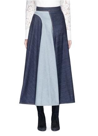 Main View - Click To Enlarge - Lanvin - Wavy fade panel denim skirt