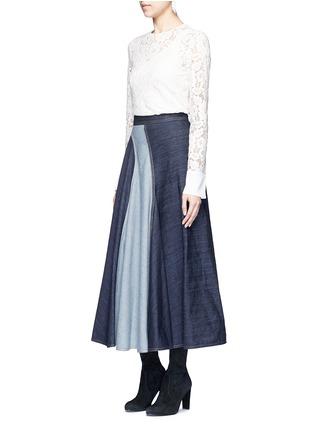 Figure View - Click To Enlarge - Lanvin - Wavy fade panel denim skirt