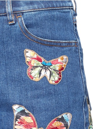 Detail View - Click To Enlarge - Valentino - Embroidered butterfly appliqué denim shorts
