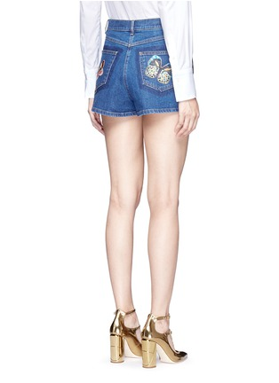 Back View - Click To Enlarge - Valentino - Embroidered butterfly appliqué denim shorts