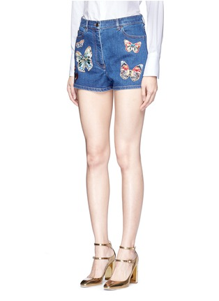 Front View - Click To Enlarge - Valentino - Embroidered butterfly appliqué denim shorts