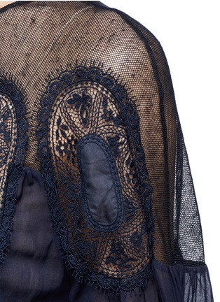 Detail View - Click To Enlarge - Chloé - Geometric lace insert cotton voile top