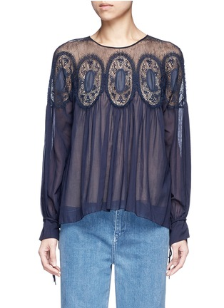 Main View - Click To Enlarge - Chloé - Geometric lace insert cotton voile top