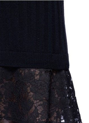 Detail View - Click To Enlarge - Valentino - Lace hem virgin wool-cashmere sweater dress
