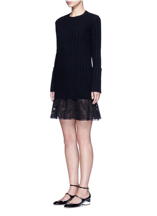 Front View - Click To Enlarge - Valentino - Lace hem virgin wool-cashmere sweater dress