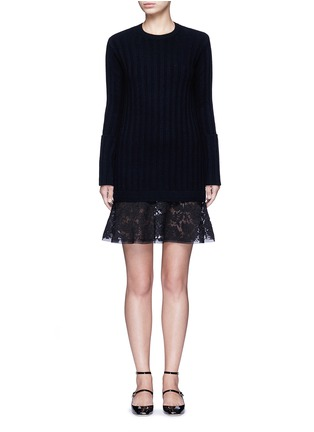 Main View - Click To Enlarge - Valentino - Lace hem virgin wool-cashmere sweater dress