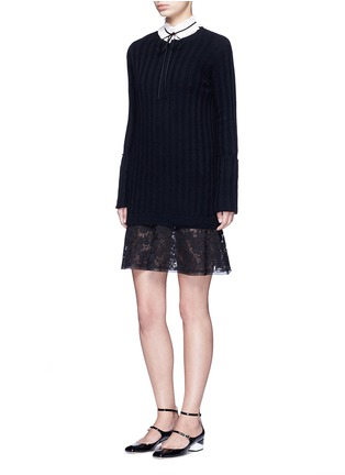 Figure View - Click To Enlarge - Valentino - Lace hem virgin wool-cashmere sweater dress