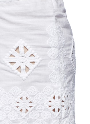 Detail View - Click To Enlarge - Miguelina - 'Minnie' geometric cutwork embroidery drawstring shorts