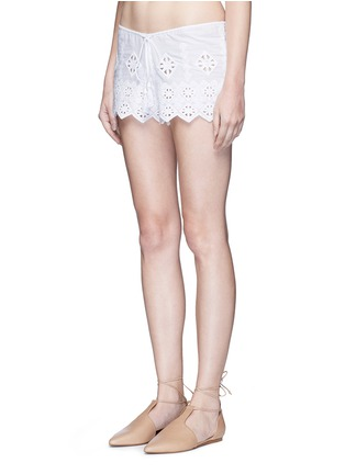 Front View - Click To Enlarge - Miguelina - 'Minnie' geometric cutwork embroidery drawstring shorts