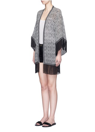 Front View - Click To Enlarge - Talitha - 'Zoya' fringed tribal print silk cover-up