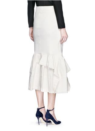 Back View - Click To Enlarge - Lanvin - Asymmetric ruffle linen blend midi skirt