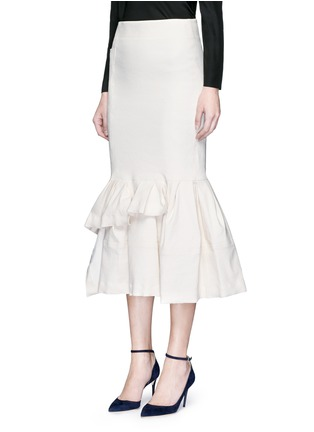 Front View - Click To Enlarge - Lanvin - Asymmetric ruffle linen blend midi skirt