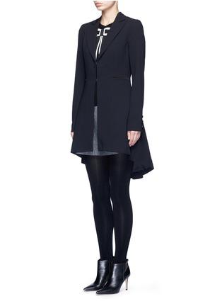 Front View - Click To Enlarge - alice + olivia - 'Jordyn' drape back crepe blazer
