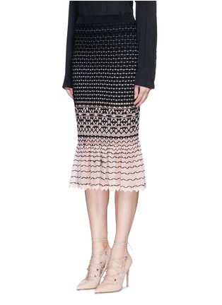 Front View - Click To Enlarge - Alexander McQueen - Macramé stitch peplum skirt