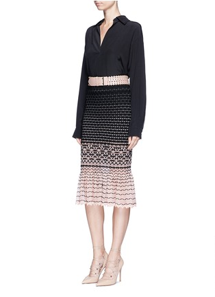 Figure View - Click To Enlarge - Alexander McQueen - Macramé stitch peplum skirt