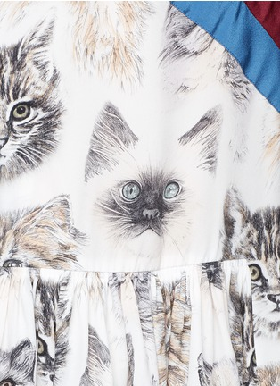 Detail View - Click To Enlarge - Stella McCartney - 'Bellucci' stripe pleated cat print dress