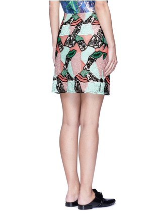 Back View - Click To Enlarge - Emilio Pucci - Patchwork lips lace pencil skirt