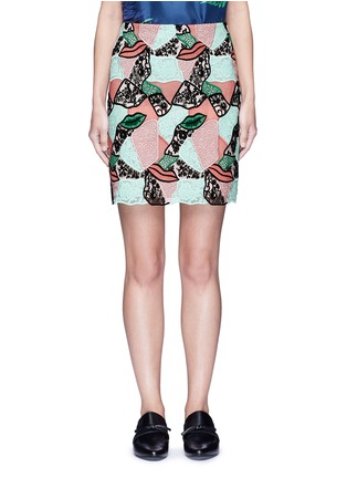 Main View - Click To Enlarge - Emilio Pucci - Patchwork lips lace pencil skirt