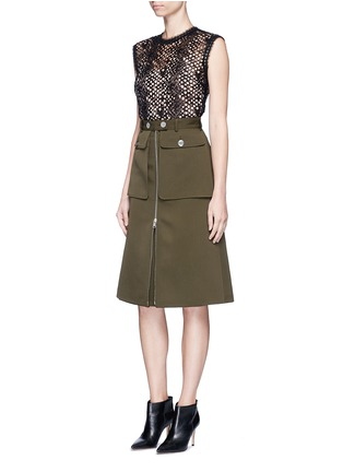 Figure View - Click To Enlarge - Alexander McQueen - Cavalry twill zip front military skirt